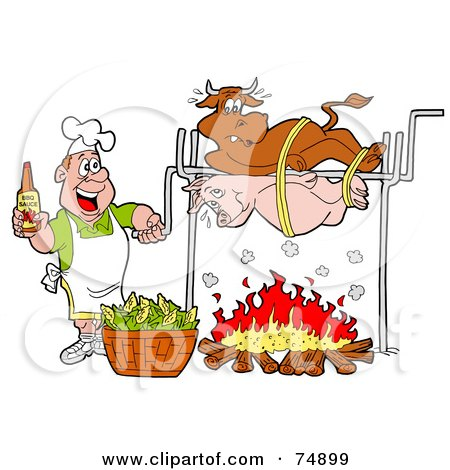 Royalty-Free (RF) Clipart Illustration of a Man Holding A Bottle Of Bbq Sauce And Cooking A Cow And Pig Over A Fire by LaffToon