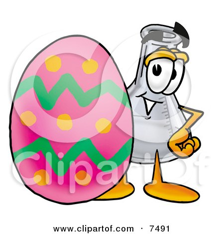 Clipart Picture of an Erlenmeyer Conical Laboratory Flask Beaker Mascot Cartoon Character Standing Beside an Easter Egg by Toons4Biz