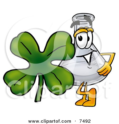 Clipart Picture of an Erlenmeyer Conical Laboratory Flask Beaker Mascot Cartoon Character With a Green Four Leaf Clover on St Paddy's or St Patricks Day by Toons4Biz