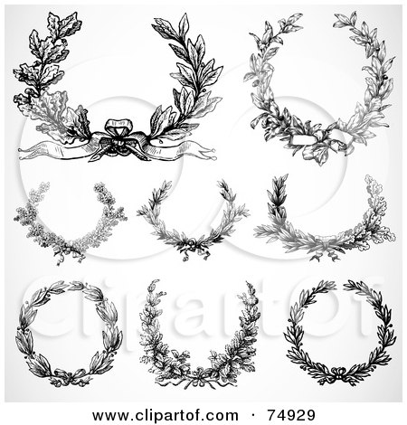 Royalty-Free (RF) Clipart Illustration of a Digital Collage Of 8 Black And White Laurel Wreaths by BestVector