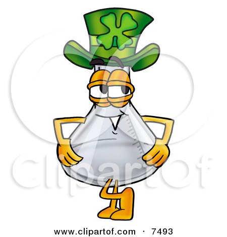 Clipart Picture of an Erlenmeyer Conical Laboratory Flask Beaker Mascot Cartoon Character Wearing a Saint Patricks Day Hat With a Clover on it by Toons4Biz