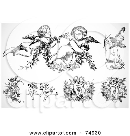 Digital Collage Of Black And White Baby Angels Or Cupids Posters Art Prints By Bestvector