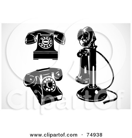 Royalty-Free (RF) Clipart Illustration of a Digital Collage Of Three Retro Black And White Phones by BestVector