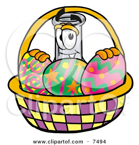 Clipart Picture of an Erlenmeyer Conical Laboratory Flask Beaker Mascot Cartoon Character in an Easter Basket Full of Decorated Easter Eggs by Toons4Biz