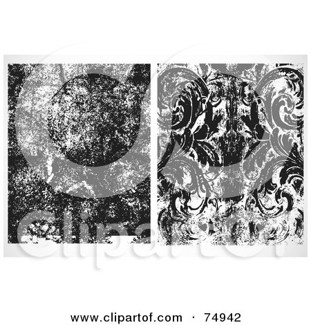 Royalty-Free (RF) Clipart Illustration of a Digital Collage Of Two Dark Textured Overlays by BestVector