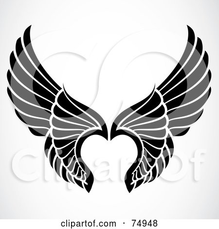 Royalty-Free (RF) Clipart Illustration of a Pair Of Black And White Elegant Angel Wings by BestVector