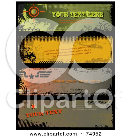 Royalty-Free (RF) Clipart Illustration of a Digital Collage Of Four Black Grunge Bordered Banners, With Sample Text by Anja Kaiser