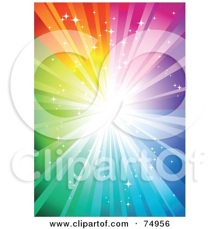 Magical Sparkly Rainbow Burst Background With Bright Light Posters, Art Prints