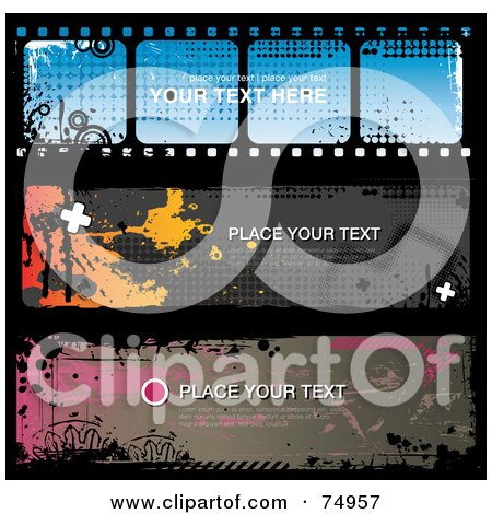 Royalty-Free (RF) Clipart Illustration of a Digital Collage Of Three Grungy Splatter Website Banners, One With A Film Strip Design by Anja Kaiser