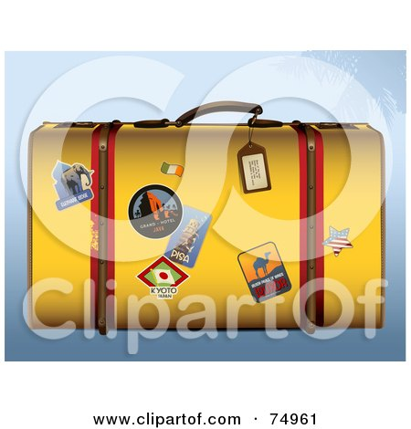 Royalty-Free (RF) Clipart Illustration of a Yellow Retro Suitcase With...