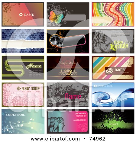 Royalty-Free (RF) Clipart Illustration of a Digital Collage Of 15 Horizontal Business Card Designs, Some With Sample Text by Anja Kaiser