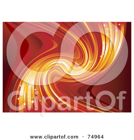 Royalty-Free (RF) Clipart Illustration of a Background Of Magical Red And Orange Twisting Light by Anja Kaiser