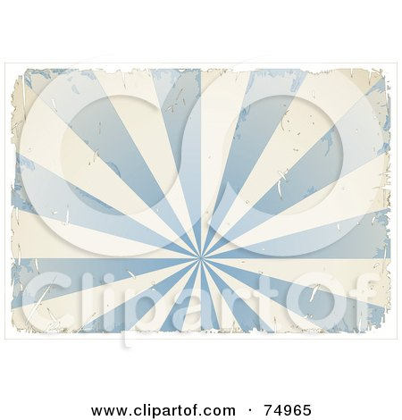 Royalty-Free (RF) Clipart Illustration of a Grungy Textured Blue And White Burst With Ripped Edges And White Borders by Anja Kaiser
