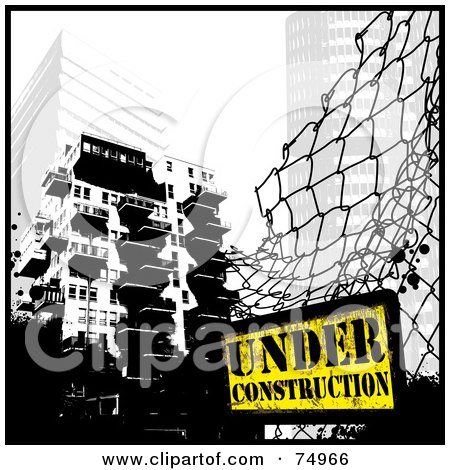 Royalty-Free (RF) Clipart Illustration of a Grungy Fence With An Under Construction Sign Near City Buildings by Anja Kaiser
