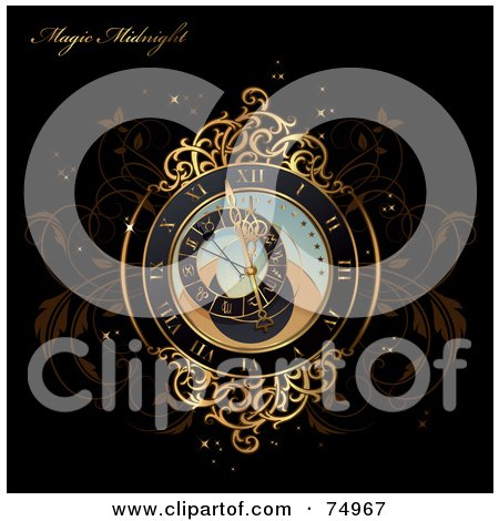Royalty-Free (RF) Clipart Illustration of a Magical Gold Clock On Brown Vines With Sparkles And Sample Text On Black by Anja Kaiser
