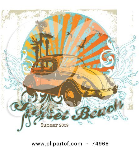 Royalty-Free (RF) Clipart Illustration of a Grungy Retro Vw Beetle Car With Palm Trees, Gulls And Vines With Sample Text by Anja Kaiser