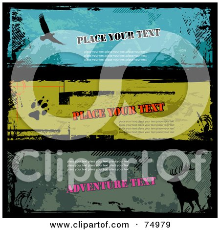 Royalty-Free (RF) Clipart Illustration of a Digital Collage Of Three Grungy Wildlife Banners, With Sample Text by Anja Kaiser