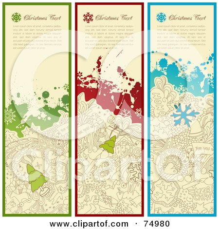 Royalty-Free (RF) Clipart Illustration of a Digital Collage Of Three Vertical Grungy Christmas Doodle Banners by Anja Kaiser