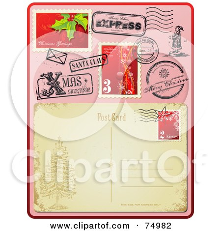Royalty-Free (RF) Clipart Illustration of The Back Side Of An Antique Post Card With Christmas Post Marks And Stamps by Anja Kaiser