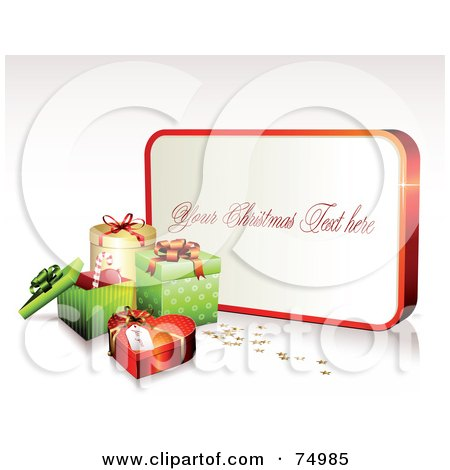 Royalty-Free (RF) Clipart Illustration of a White And Red Sign With Sample Text Near Christmas Gift Boxes by Anja Kaiser