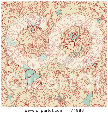 Royalty-Free (RF) Clipart Illustration of a Merry Christmas Doodle Background In Red, Beige And Blue by Anja Kaiser