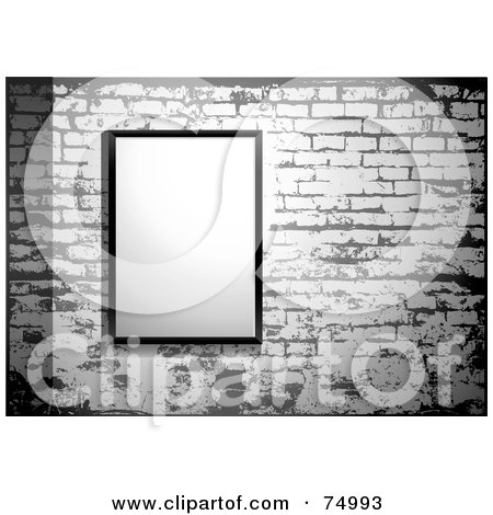 Royalty-Free (RF) Clipart Illustration of a Blank Sign Posted On A Grungy Gray Brick Wall by Anja Kaiser