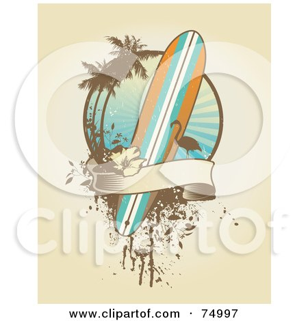 Grungy Surfboard, Flamingo, Palm Tree And Banner Design Background Posters, Art Prints
