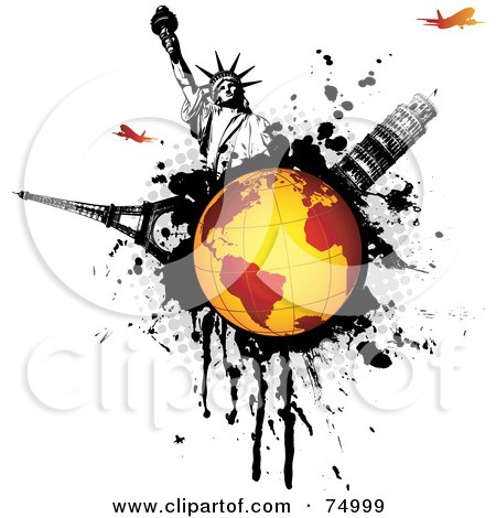 Royalty-Free (RF) Clipart Illustration of a Orange Globe On A Black Splatter With The Statue Of Liberty, Tower Of Pisa, Eiffel Tower And Planes by Anja Kaiser