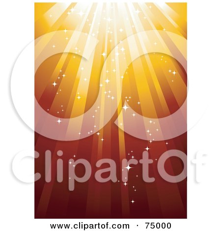 Royalty-Free (RF) Clipart Illustration of a Red And Orange Sparkly Background Of Shining Light by Anja Kaiser