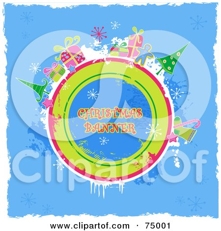 Royalty-Free (RF) Clipart Illustration of a Grungy Blue Christmas Background With Items Around A Circle With Sample Text And White Borders by Anja Kaiser