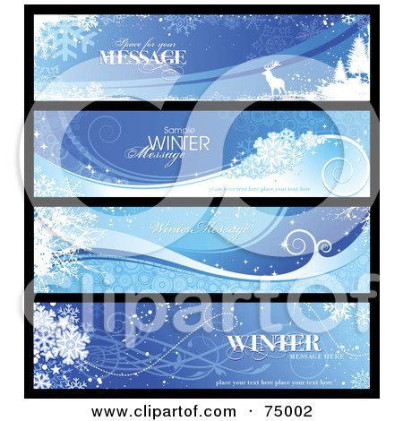 Royalty-Free (RF) Clipart Illustration of a Digital Collage Of Four Wintry Landscape Banners, With Sample Text by Anja Kaiser