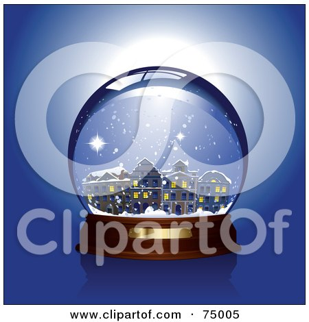 Royalty-Free (RF) Clipart Illustration of a Winter Village In A Snow Globe by Anja Kaiser