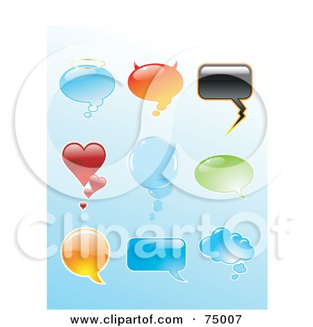 Royalty-Free (RF) Clipart Illustration of a Digital Collage Of Shiny Shaped Speech Balloons by Anja Kaiser
