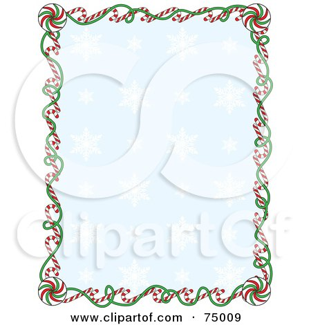 Royalty-Free (RF) Clipart Illustration of a Blue Snowflake Background Bordered With Christmas Candy Canes And Ribbons by Maria Bell