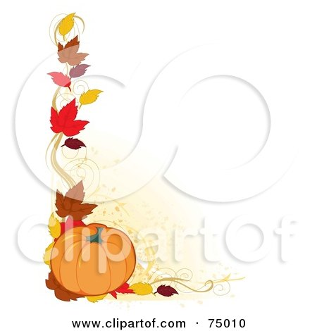 Royalty-Free (RF) Clipart Illustration of a White Background With A Corner Border Of Autumn Leaves And A Pumpkin by Maria Bell