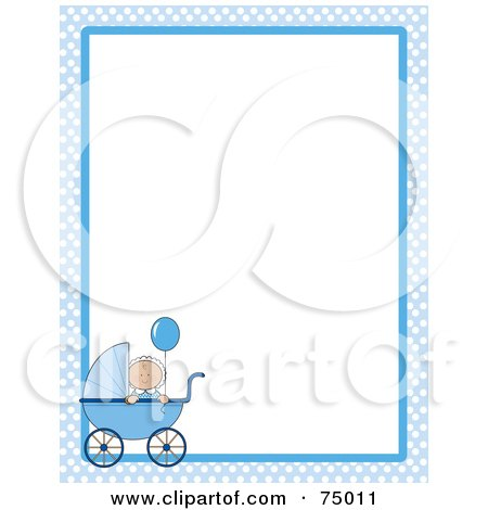 Royalty-Free (RF) Clipart Illustration of a Blue Baby Checkered Border With A Boy In A Pram Around White Space by Maria Bell