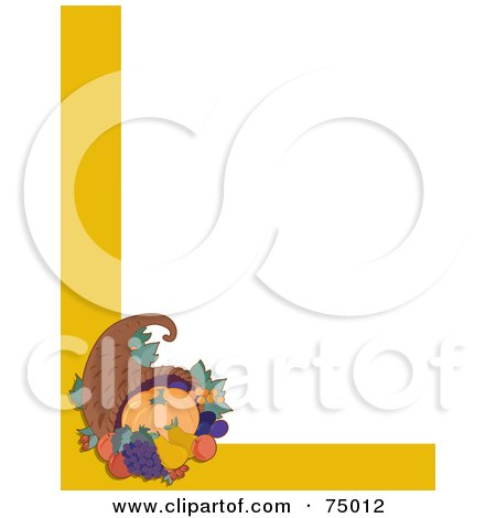 Royalty-Free (RF) Clipart Illustration of a White Background With A Corner Design Of A Thanksgiving Cornucopia And Yellow Lines by Maria Bell