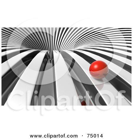 Royalty-Free (RF) Clipart Illustration of a Red Ball Rolling Towards A 3d Chrome Vortex by Tonis Pan