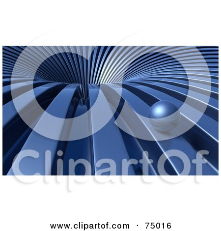 Royalty-Free (RF) Clipart Illustration of a Blue Ball Rolling Towards a 3d Vortex by Tonis Pan
