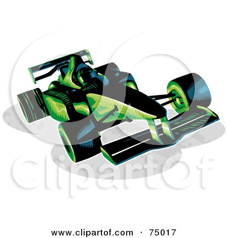 Royalty-Free (RF) Clipart Illustration of a Green And Black F1 Race Car by Tonis Pan
