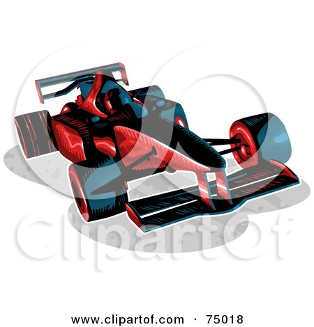 Royalty-Free (RF) Clipart Illustration of a Red And Black F1 Race Car by Tonis Pan