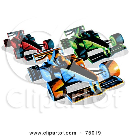 Royalty-Free (RF) Clipart Illustration of Three Red, Green And Blue Racing F1 Race Cars by Tonis Pan