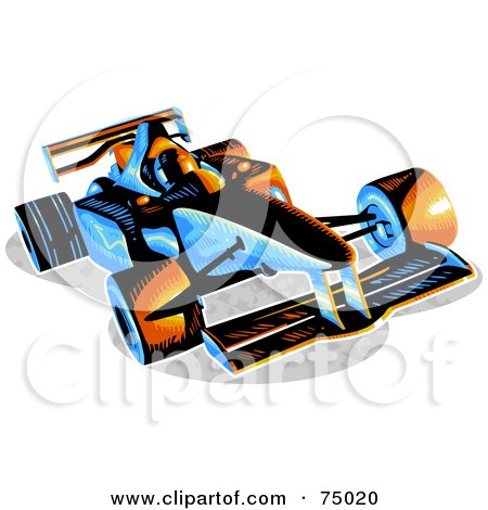 Royalty-Free (RF) Clipart Illustration of a Blue And Orange F1 Race Car by Tonis Pan