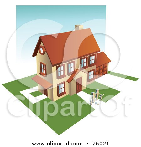 Royalty-Free (RF) Clipart Illustration of a Family Holding Hands In Front Of Their Multi Story Home With Green Lawns by Tonis Pan