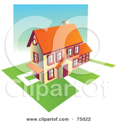 Royalty-Free (RF) Clipart Illustration of a Multi Story Family Home With Green Lawns by Tonis Pan