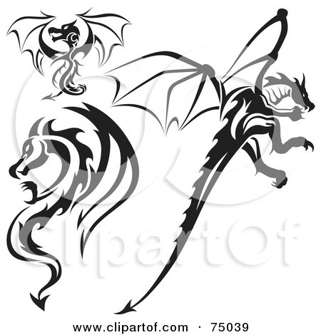 Royalty-free clipart picture of a digital collage of black and white dragon