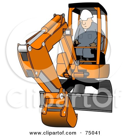 Royalty-Free (RF) Clipart Illustration of a Construction Worker Operating An Orange Mini Excavator by djart