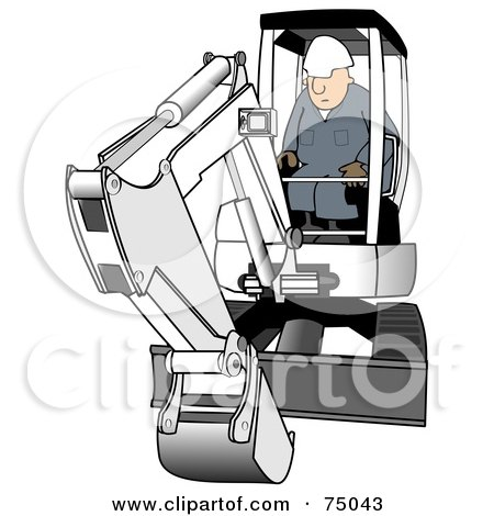Royalty-Free (RF) Clipart Illustration of a Construction Worker Operating A White Mini Excavator by djart