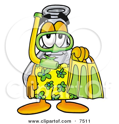 an Erlenmeyer Conical Laboratory Flask Beaker Mascot Cartoon Character in Green and Yellow Snorkel Gear Posters, Art Prints