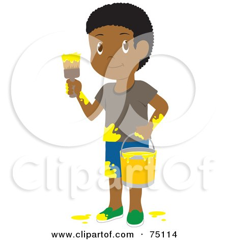 Royalty-Free (RF) Clipart Illustration of a Little African American Boy Painting With Yellow Paint by Rosie Piter